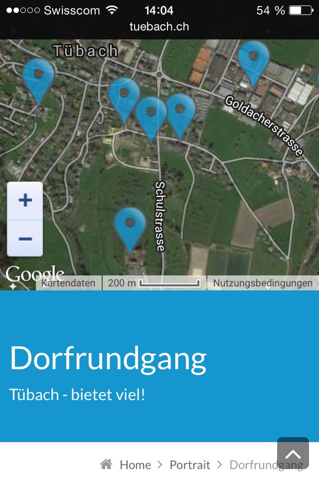 Geodaten mobile tuebach.ch