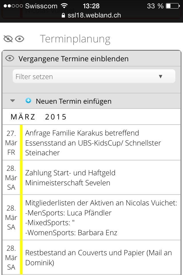 Terminplanung Mobile 3
