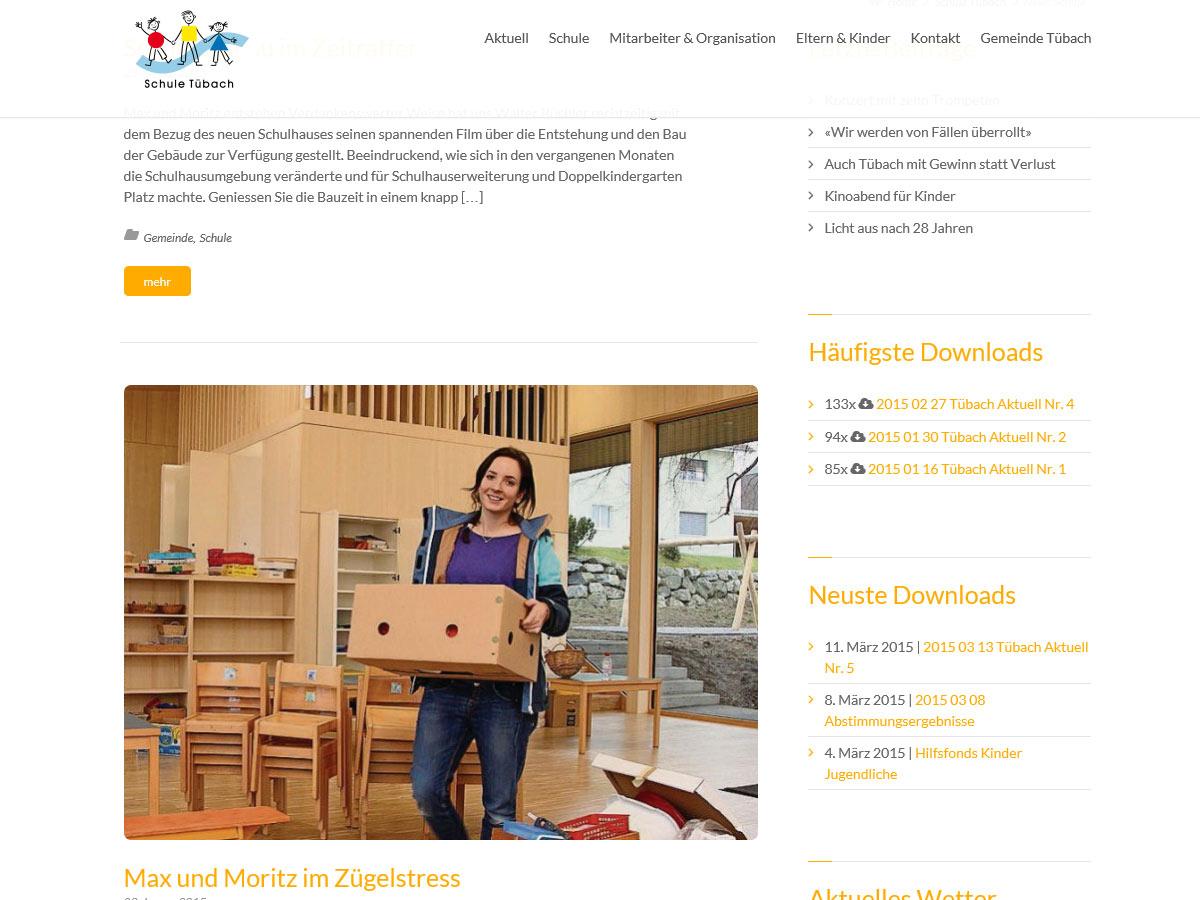 Newsseite schule-tuebach.ch